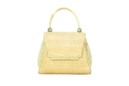 KARA ROSS Tan Ostrich Woven Top Handle Bag Condition: Excellent, like new. Houston Texas