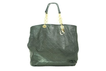 CHRISTIAN DIOR Black Leather Large Tote Bag with Gold Hardware, Houston Texas, Retail Consignment Shop