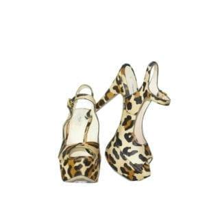 Christian Louboutin Cheetah Print Pony Peep Toe Heel