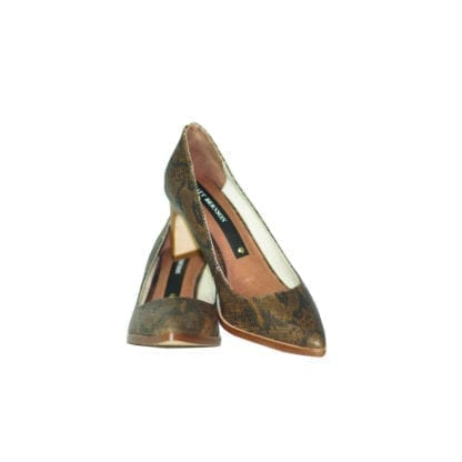 matt bernson brown snake skin leather closed toe wooden heel houston consignment boutique brown shoe