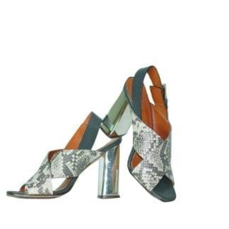 rebecca minkoff snak skin metallic heeled open toe sandal womens designer fashion consignment boutique easy to walk heel women shoe