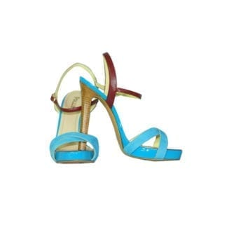 Pollini platform sandal tri colored summer color heel womens shoe sexy patent leather and suede