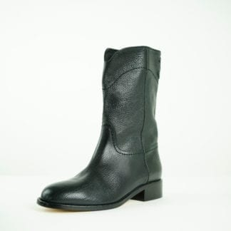 CHANEL Black leather mid calf western boots houston, texas womens designer shoes houston consignment