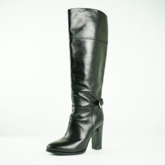 RALPH LAUREN Black Leather Buckle Knee High Heeled Boots Women's Fashion Women's Shoes, Women's Boots Fall Fashion Houston, Texas Designer Consignment