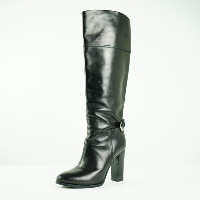 742e3f622 RALPH LAUREN Black Leather Buckle Knee High Heeled Boots Women's Fashion  Women's Shoes, Women's Boots