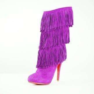 Christian Louboutin Purple Suede Fringe Heeled Boots Houston, Texas Women's Shoes Women's Boots Houston Consignment Boutique Houston Fashion
