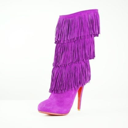 Christian Louboutin Purple Suede Fringe Heeled Boots Houston, Texas Women's Shoes Women's Boots Houston Consignment Boutique Houston Fashion