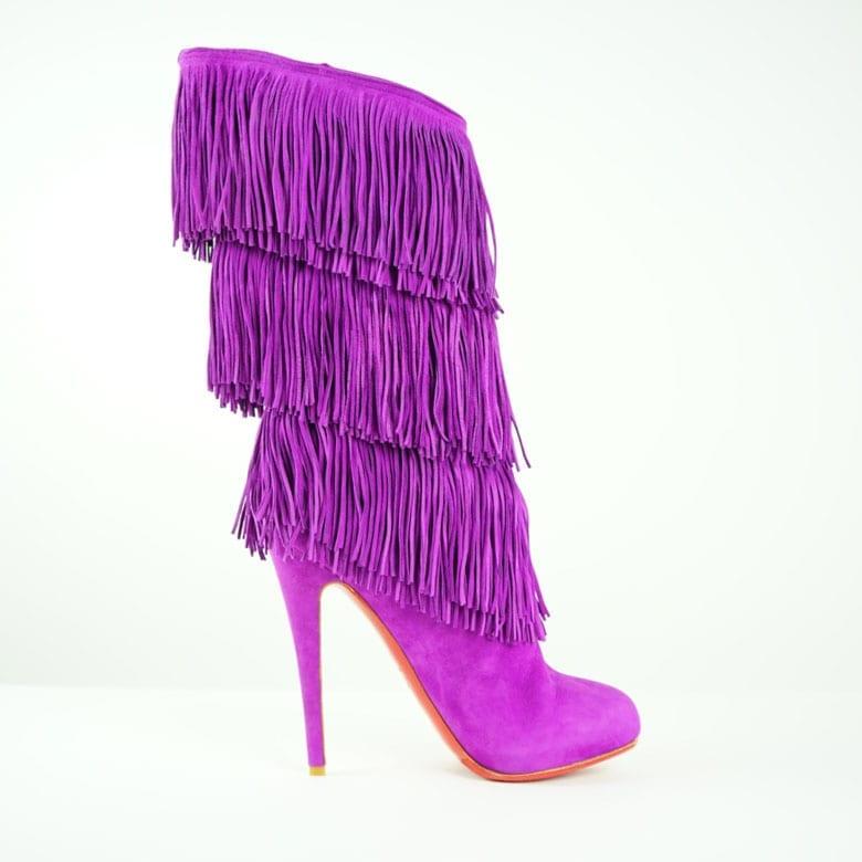 1bd6aae78e1 CHRISTIAN LOUBOUTIN®.  700.00. CHRISTIAN LOUBOUTIN Purple Suede Fringe Knee  High Heeled Boots