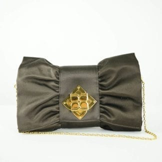 BCBG MAXAZRIA® Brown Satin Flower Buckle Clutch Bag Women's Designer Bags Houston, Texas Houston Consignment Boutique Couture Blowout