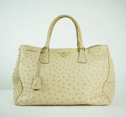 PRADA® Cream Ostrich Leather Handbag Women's Designer Bags Houston, Texas Houston Consignment Boutique Couture Blowout