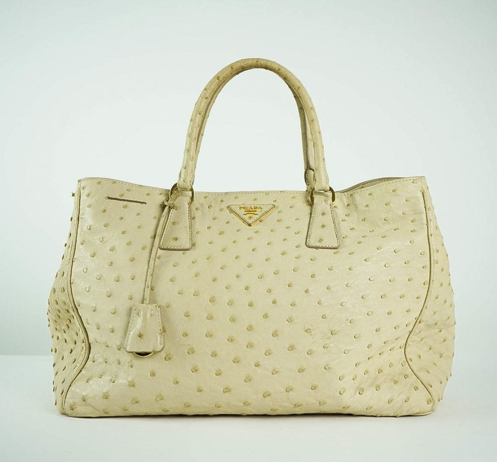 5a3327e4dd199e PRADA® Cream Ostrich Leather Handbag Women's Designer Bags Houston, Texas  Houston Consignment Boutique Couture