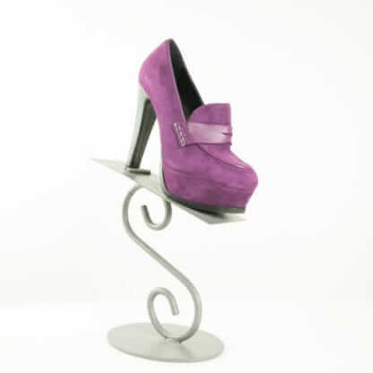 GUIDO SGARIGILA® Purple Suede Loafer Platform Heels Women's Designer Shoes Houston, Texas Consignment Couture Blowout