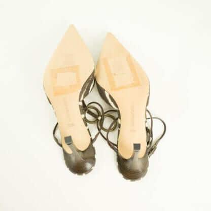 MANOLO BLAHNIK® Brown Cream Zebra Print Gold Hoop Pointed Pumps