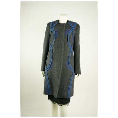 Parakian® French Grey and Blue Wool Coat Women's Designer Coats Houston, Texas Fashion Couture Blowout Luxury Consignment