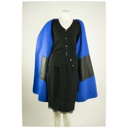 Lafayette 148® Black Blue Reversible Belted Open Wool Coat Women's Designer Coats Houston, Texas Fashion Couture Blowout Luxury Consignment