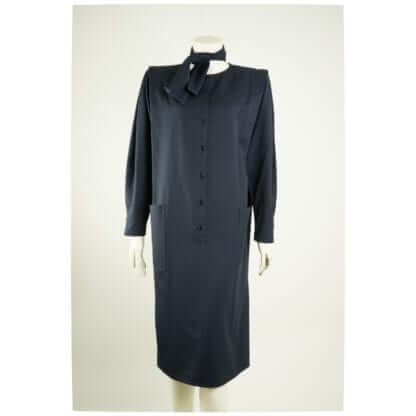 UNGARO® Navy Blue French Padded Coat Dress