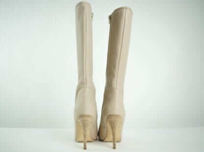 MANOLO BLAHNIK Nude Leather Knee High Heeled Boots Women's Shoes Women's Boots Fall Fashion Designer Consignment Houston Consignment Fall Fashion