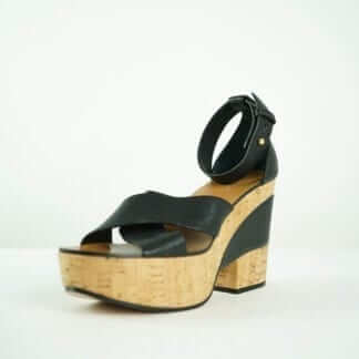 CHLOE Black Leather Cross Strapped Wedged Platform Sandal Houston, Texas Consignment Boutique Women's Shoes Designer Brand Shoes Wedges Platforms Heels