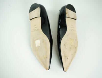 JIMMY CHOO Black Patent Pointed Flats Houston, Texas Women's Designer Shoes Houston Consignment Fashion Couture Blowout
