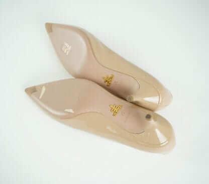 Prada Nude Patent Kitten Heel Pumps Houston, Texas Women's Shoes Designer Brand Resale Consignment Couture Blowout Houston Fashion