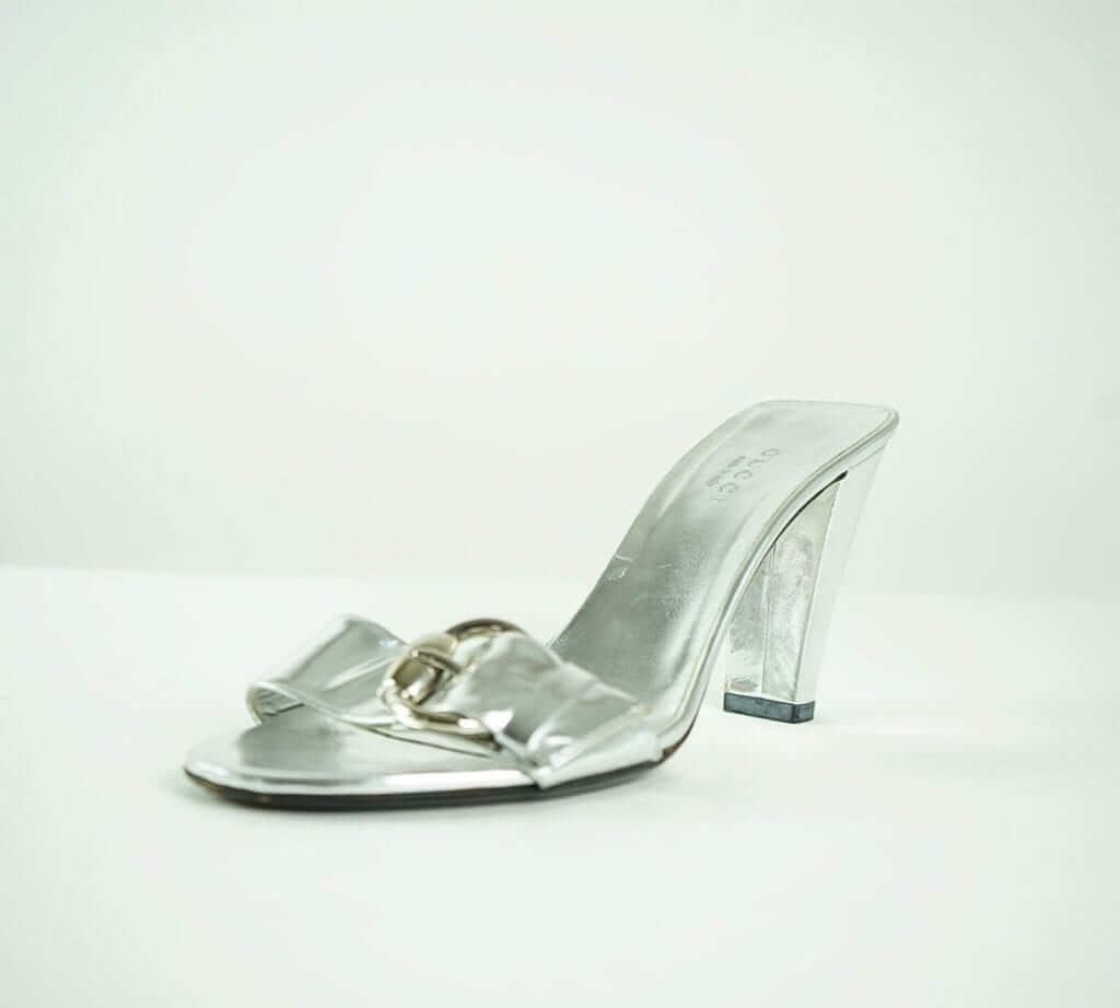89eb5db8e GUCCI Silver Metallic Slip-On Heeled Sandals Houston, Texas Women's  Designer Fashions Houston Consignment