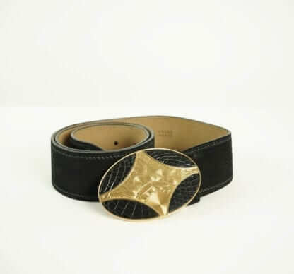 PRADA® Black Suede Leather Gold Buckle Belt Women's Fashions Designer Fashions Houston, Texas Consignment Boutique